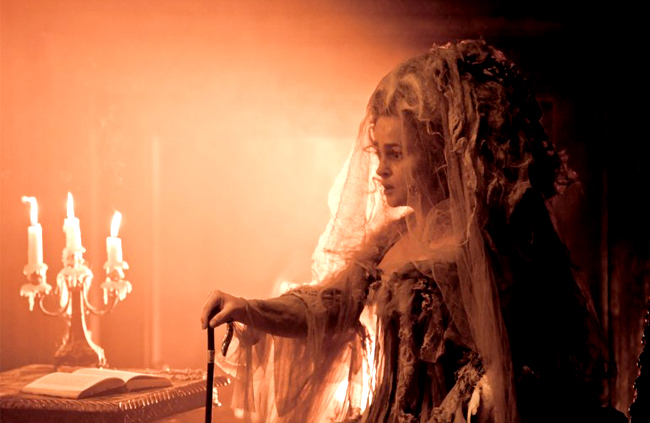Helena Bonham Carter as Miss Havisham in dress with cutting and textile design by Nail & Rockett